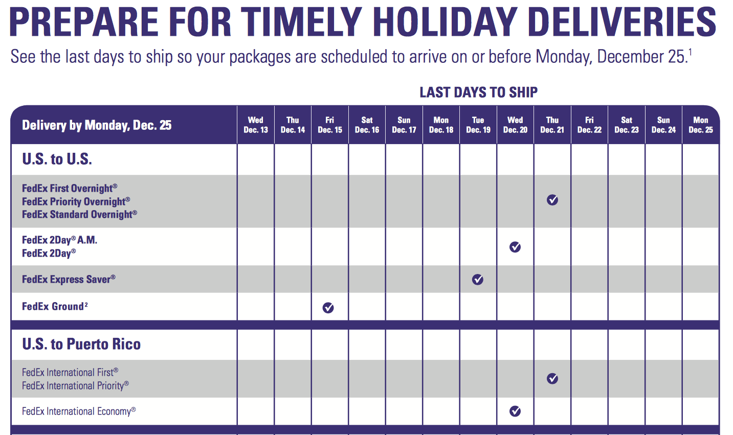 CHRISTMAS DELIVERY DEADLINES – The Business Center of Marshfield